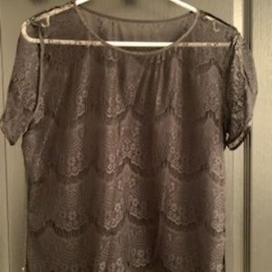 Black lace top with ribbon trim